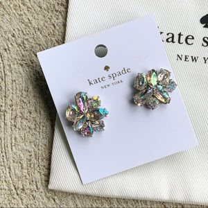Kate Spade Sparkly Silver Cluster Earrings NWT